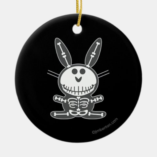 Skeleton Bunny Double-Sided Ceramic Round Christmas Ornament