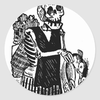"""""""Skeleton carrying Fish"""" circa early 1900's Classic Round Sticker"""