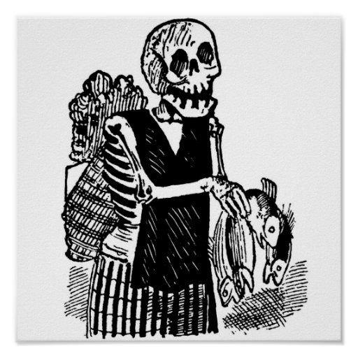 """""""Skeleton carrying Fish"""" circa early 1900's Mexico Print"""