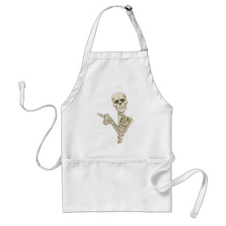 Skeleton Cartoon Peeking Round Sign and Pointing Adult Apron
