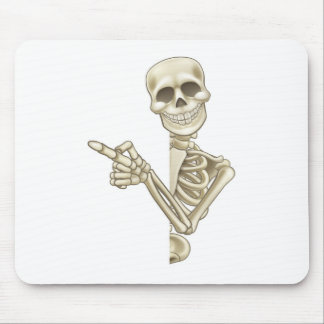 Skeleton Cartoon Peeking Round Sign and Pointing Mouse Pad