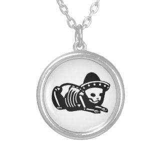 Skeleton Cat Siesta Silver Plated Necklace