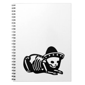 Skeleton Cat Siesta Spiral Notebook