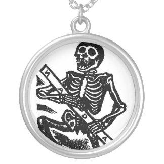 Skeleton, circa 1951 Mexico. Round Pendant Necklace