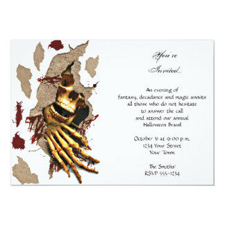 Skeleton Clawing Through Wall Halloween Party Card