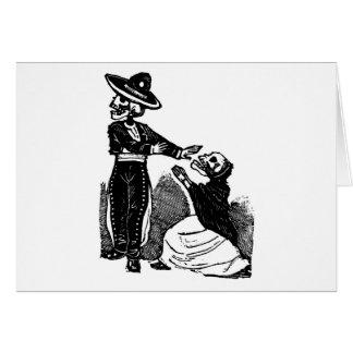 Skeleton Couple Fighting c. 1900s Mexico Card