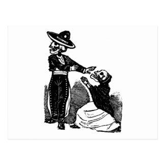 Skeleton Couple Fighting c. 1900s Mexico Postcard