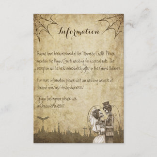 Skeleton couple information card for wedding