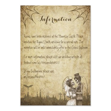 Halloween Themed Skeleton couple information card for wedding