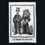 """Skeleton Couple - Ktichen Towel (Customize)<br><div class=""""desc"""">Customize! Change text (wedding couple&#39;s names,  family name etc. or remove) or background colour to suit your decor.  Makes for an off-beat bridal shower gift!  A digitally manipulated vintage image based on a piece created by Jose Guadalupe Posada (1852-1913),  famous for his &quot;Day of the Dead&quot; images.</div>"""