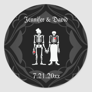 Skeleton Couple Save the Date Sticker Labels