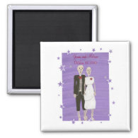 Skeleton Couple Save the date Wedding Magnets