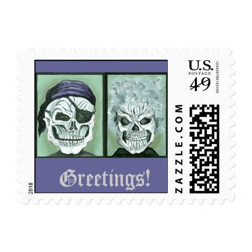 Skeleton Couple Stamp