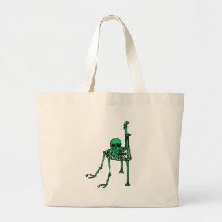 Skeleton Creepy Yoga Skull Dancing Large Tote Bag