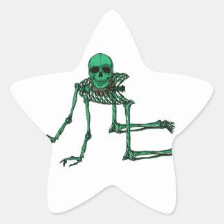 Skeleton Creepy Yoga Skull Dancing Star Sticker