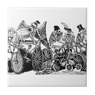 Skeleton Cyclists by José Guadalupe Posada Ceramic Tile
