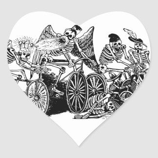 Skeleton Cyclists by José Guadalupe Posada Heart Sticker