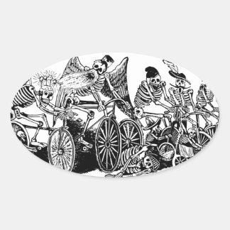 Skeleton Cyclists by José Guadalupe Posada Oval Sticker