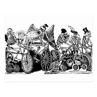 Skeleton Cyclists by José Guadalupe Posada Postcard