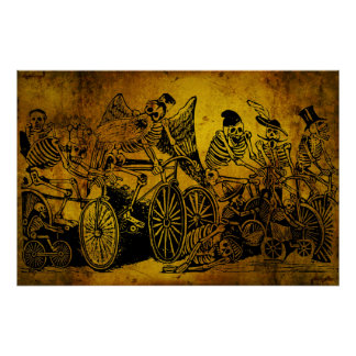 Skeleton Cyclists by José Guadalupe Posada Poster
