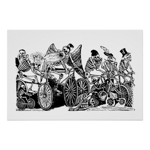 Skeleton Cyclists by José Guadalupe Posada Posters