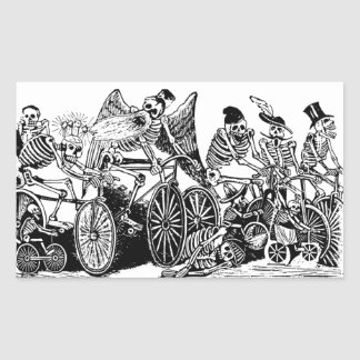 Skeleton Cyclists by José Guadalupe Posada Rectangular Sticker
