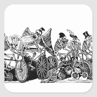Skeleton Cyclists by José Guadalupe Posada Square Sticker
