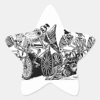Skeleton Cyclists by José Guadalupe Posada Star Sticker