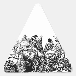 Skeleton Cyclists by José Guadalupe Posada Triangle Sticker