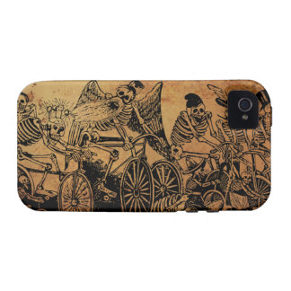 Skeleton Cyclists by José Posada aged paper iPhone 4/4S Cover
