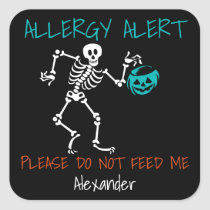 Skeleton Do Not Feed Me Halloween Kids Allergy Square Sticker