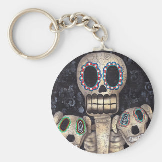 skeleton dog Day of the Dead Keychain