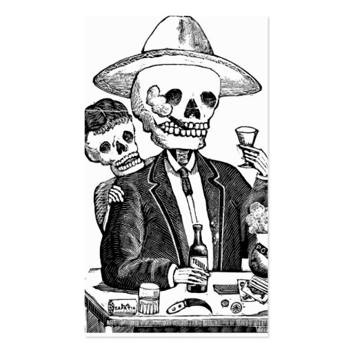 Skeleton Drinking Tequila and Smoking, Mexico Business Card
