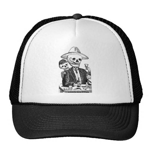 Skeleton Drinking Tequila and Smoking, Mexico Hats