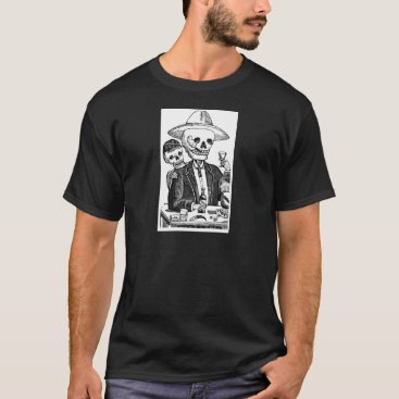 Halloween Themed Skeleton Drinking Tequila and Smoking, Mexico T-Shirt