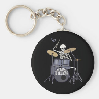 Skeleton Drummer Basic Round Button Keychain