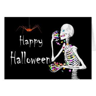Skeleton Eating Halloween Candy Card
