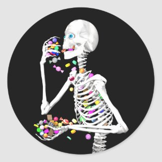 Skeleton Eating Halloween Candy