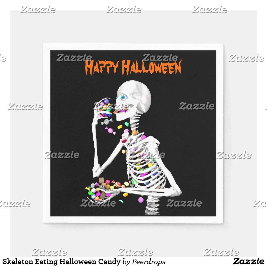 Skeleton Eating Halloween Candy Napkin