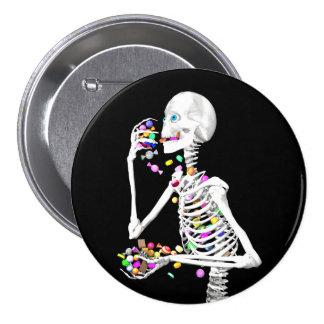 Skeleton Eating Halloween Candy Pinback Button