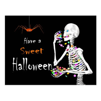Skeleton Eating Halloween Candy Postcard