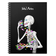 Skeleton Eating Halloween Candy Spiral Notebook