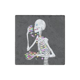 Skeleton Eating Halloween Candy Stone Magnet