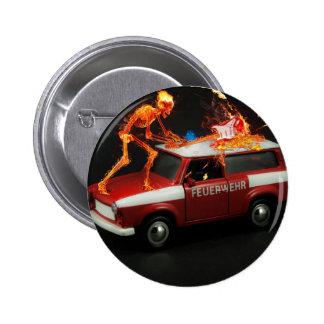 Skeleton fire truck pinback button
