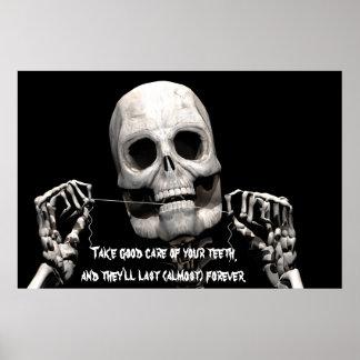 Skeleton flossing poster