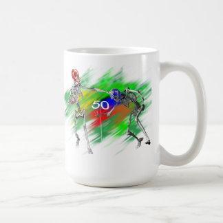 Skeleton football mugs