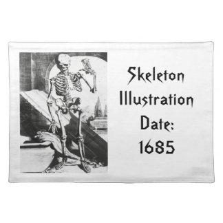 Skeleton from Anatomia Humani Corporis Cloth Placemat