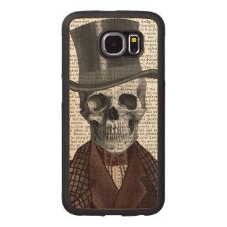 Skeleton Gentleman and Top hat Wood Phone Case