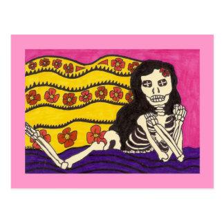 Skeleton Girl on Blanket Postcard