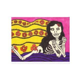 Skeleton Girl Pinup Canvas Print
